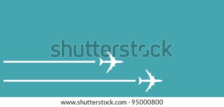 vector image of white silhouettes of jet airplanes - stock vector