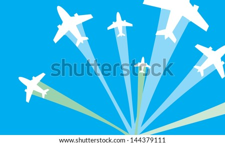 vector image of white silhouettes of jet airplanes, isolated on blue - stock vector