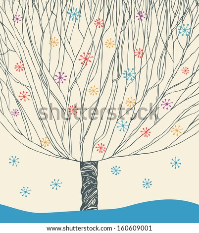 Vector image of winter tree. Unusual illustration with tree under snowfall - stock vector