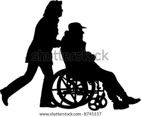 vector image of woman pushing man in the wheelchair on a walk - stock vector