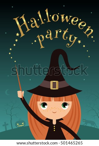 Vector image of young witch for halloween design.