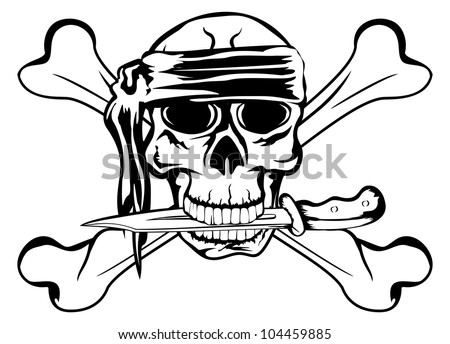 Vector image pirate with dagger and crossbone - stock vector