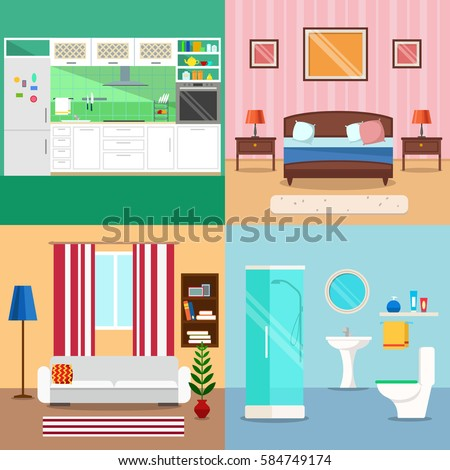 living room bedroom bathroom kitchen vector image room interior background set stock vector 18975