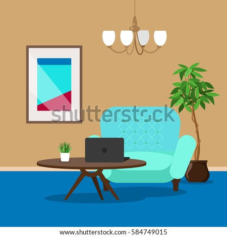 Vector Image Room Interior With Picture Laptop Armchair And Flower Background