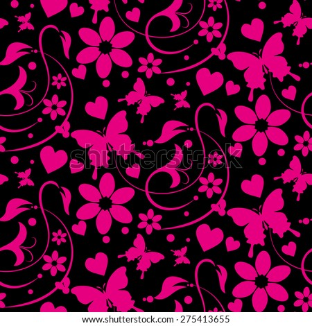 Vector image, seamless pattern. Wallpaper background for Your design. Dark cover. For decorating books, postcards, wallpaper, wall, web design. Color black and pink. Background in style retro. - stock vector