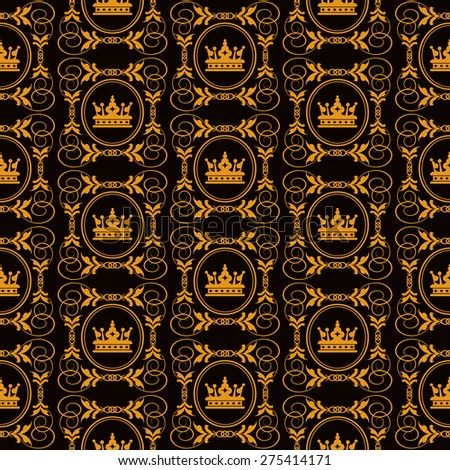 Vector image, seamless pattern. Wallpaper background for Your design. Dark cover. For decorating books, postcards, wallpaper, wall, web design. Color black and gold. Background in style retro. - stock vector