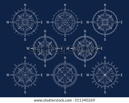 Vector image set of variations of the mark Wind Rose. - stock vector