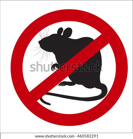 vector image sign of the ban rats