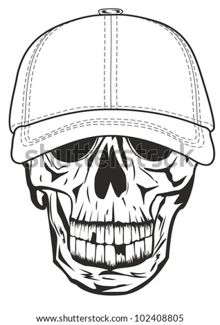 Vector image skull in baseball cap - stock vector