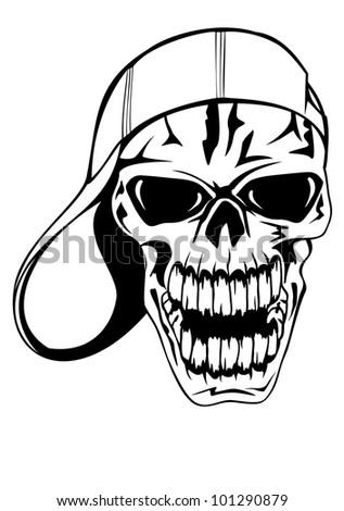 Vector image skull in cap - stock vector