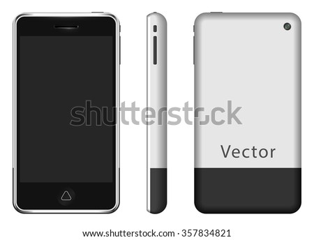 vector image - smartphone mockup front, side and back