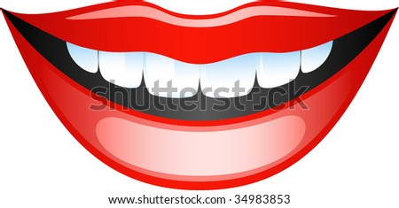Vector image smiling female lips. Isolated on white.