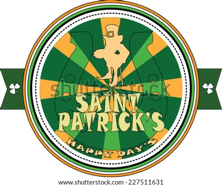 Vector image. St. Patrick's day icon with horseshoe. - stock vector