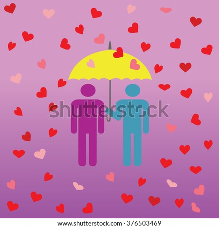 vector image Stick Figure with an umbrella yellow in the rain of hearts on a pink background