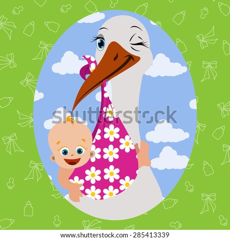 Vector image. Stork with baby in the foreground - stock vector