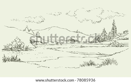 Vector image. Summer landscape with a river flowing among the hills - stock vector