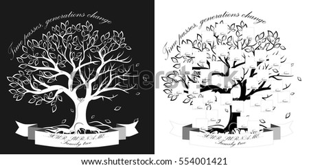 Vector image. Template of  family tree  isolated on black and white background