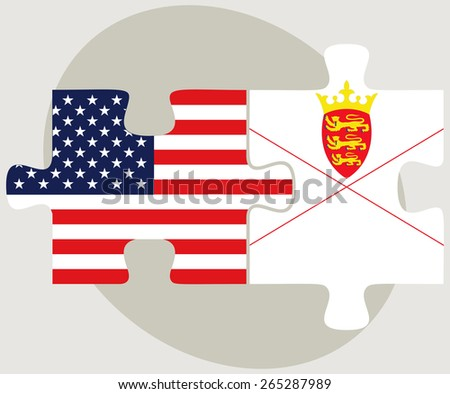 Vector Image - USA and Bailiwick of Jersey Flags in puzzle  isolated on white background