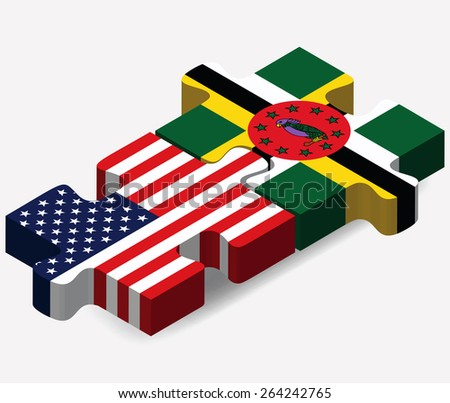 Vector Image - USA and Commonwealth of Dominica Flags in puzzle  isolated on white background