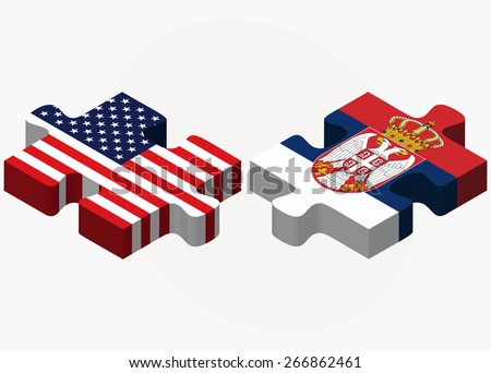 Vector Image - USA and Serbia Flags in puzzle isolated on white background