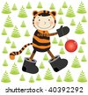 Vector image with cheerful new-year tiger bringing Christmas ball among trees. - stock vector
