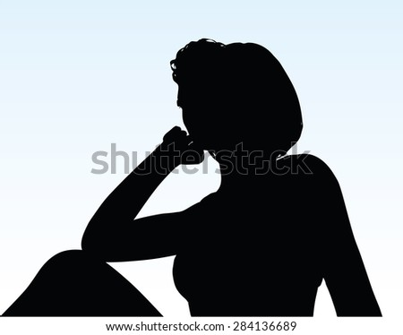 Vector Image - woman silhouette with hand gesture thinking