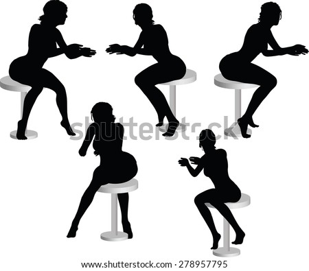 Vector Image - woman silhouette with sitting pose leaning on table
