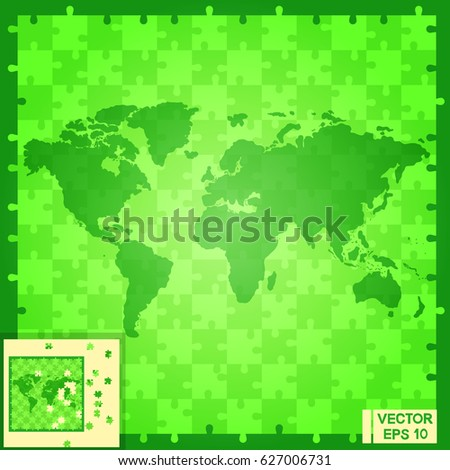Vector image world map puzzle continents stock vector 627006719 vector image world map puzzle mosaic of green color gumiabroncs Choice Image