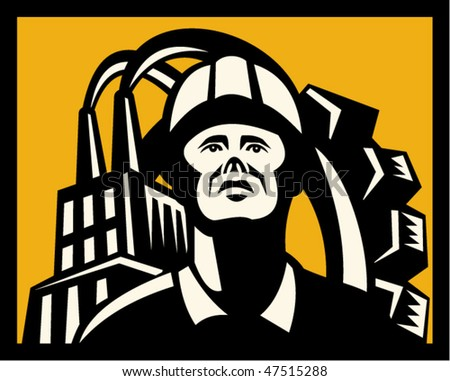 vector Imagery shows a worker with cap factory building in foreground and mechanical gear in background - stock vector