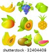 Vector images of beautiful exotic fruits: bananas, grapes, lime, mango, avocado, pineapple, papaya, kiwi and guava! Isolated on white. - stock photo