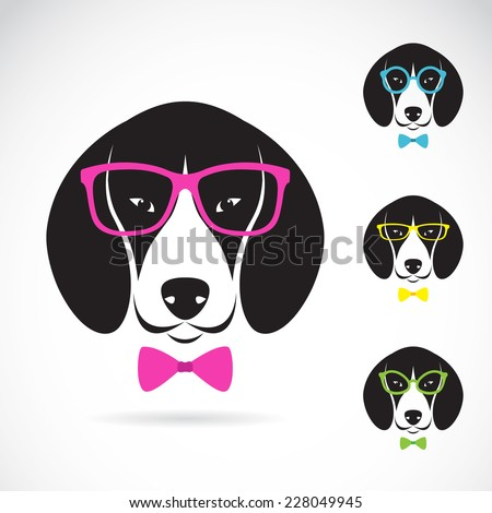 Vector images of dog beagle wearing glasses on white background. - stock vector