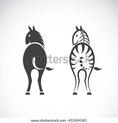 Vector images of horse and zebra on a white background, Vector horse and zebra for your design. - stock vector