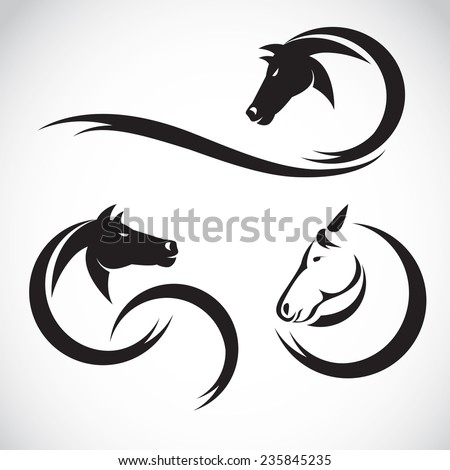 Vector images of horse design on a white background - stock vector