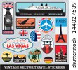 Vector images of vintage travel stickers - stock vector