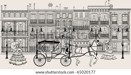 Vector imaginative artwork representing a street in New orleans style with horse carriage and women in crinoline dress - stock vector
