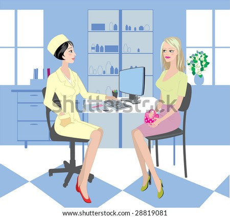 Vector. In the study by a doctor - stock vector