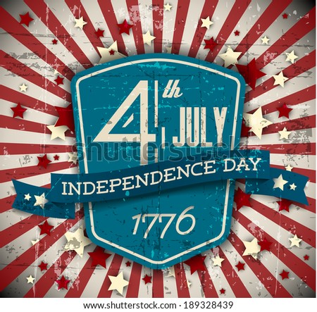 Vector independence day badge / poster - retro vintage version with stars - stock vector
