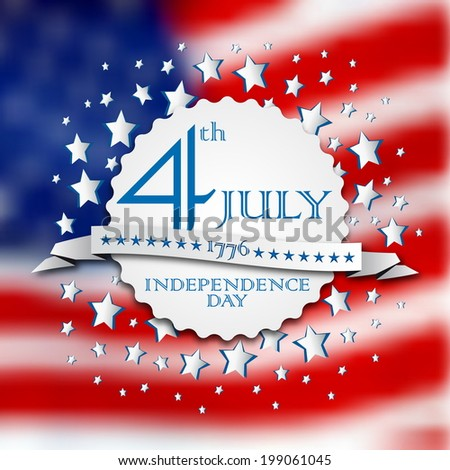 Vector independence day vintage badge, retro background poster - stock vector