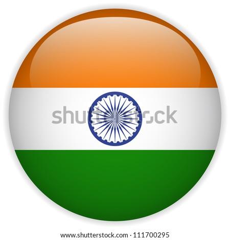 Vector - India Flag Glossy Button - stock vector