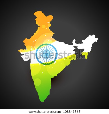 vector india map with flag design art - stock vector