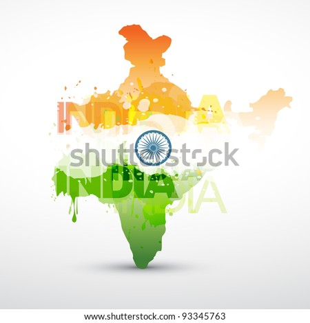vector india map with indian flag - stock vector
