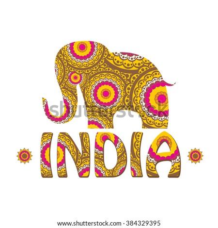 vector indian elephant with color pattern. india travel background - stock vector