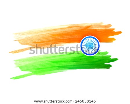 vector indian flag design made with color strokes on a white background - stock vector
