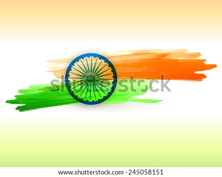 vector indian flag made with color strokes in tricolor background illustration - stock vector