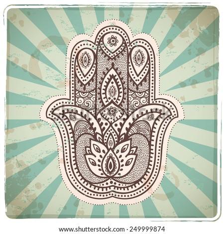 Vector Indian Hand Drawn Hamsa Symbol Stock Vector ...