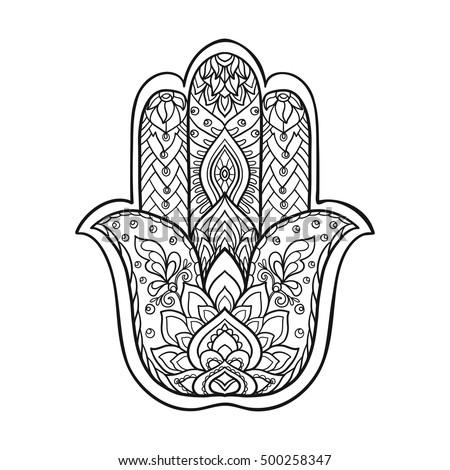 Vector indian hand drawn hamsa symbol vectores en stock - Coloriage main de fatma ...