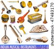 vector Indian music instrument icons - stock vector