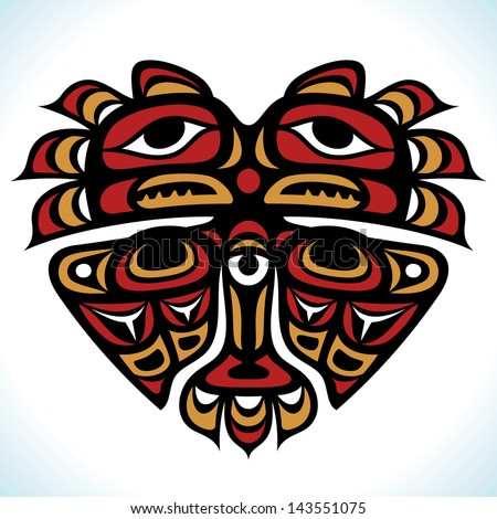 Vector Indian pattern in the shape of heart - stock vector