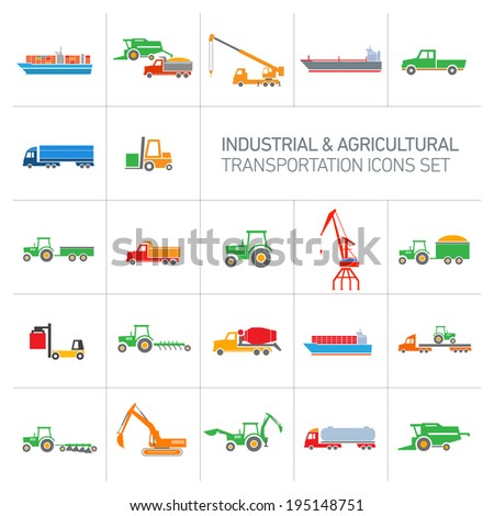 vector industrial and agricultural icons set | colorful modern flat design abstract illustration collection isolated on white background - stock vector