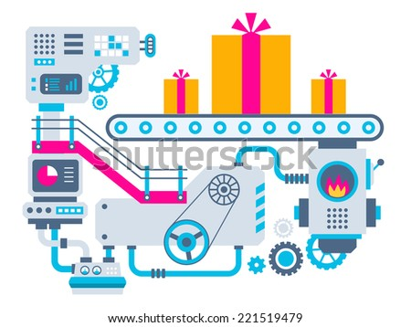 Vector industrial illustration background of the factory for manufacture gift boxes with bow. Color bright flat design for banner, web, site, advertising, print, poster. - stock vector